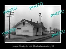 OLD LARGE HISTORIC PHOTO OF LUCERNE COLORADO, THE RAILROAD DEPOT STATION c1950