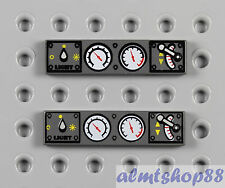 LEGO - 2x Lot 1x4 Printed Tiles w/ Gauge Light Switch Train Engine Car Dark Gray