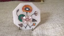 vintage inlay stone agates MOP shell hand painted crafted flowers marble stand