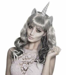Long Grey Unicorn Wig Halloween Ghost Ghoulish Zombie Fancy Dress Accessory