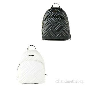 Michael Kors Abbey Medium Vegan Faux Leather Geo Quilted Backpack Bookbag Bag