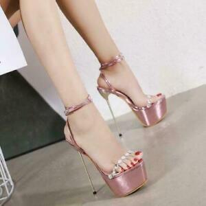 Sexy Stiletto High Heels Rhinestone Ankle Strappy Open Toe Sandals Platform Shoe