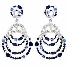 Sterling Silver Lab-created Blue Spinel Cubic Zirconia Double Open Oval Earring