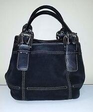Tignanello Black Suede Bucket Tote Bag Purse w/Silver Buckle Hardware