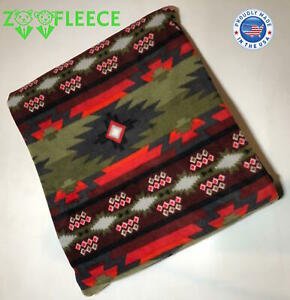 "ZooFleece Green Southwestern Aztec Native American Throw Bedding Blanket 50X60"""