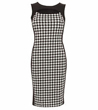 Black and White Dog Tooth Cut out Keyhole Pencil Dress 18