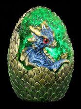 Drachen Figur mit LED - Geode Home - blau - Fantasy Drachenbaby Dekostatue