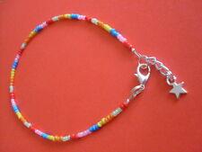 bracelet hippy/love/beach/festive adjustable 26cm seed bead rainbow anklet/ankle