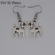 Stunning Silver Tone Pair of Jack Russell  Dog Earrings .With Organza Bag .....