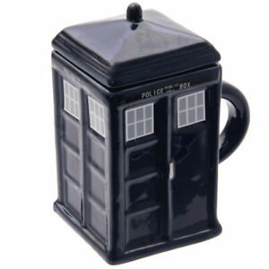 Ceramic Square Blue Police Box Mug with Lid | Resembles TARDIS from Dr Who