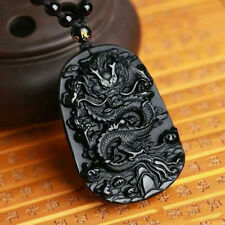 Black Dragon Carving Pendant Lucky Amulet Necklace Obsidian Jewelry