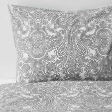 Queen Full Duvet Cover Set + 2 Pillowcases Gray Paisley Ikea Jattevallmo *New*