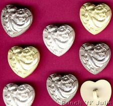 WEDDING BLISS - Pearl Effect Hearts White Grey Bow Flower Novelty Craft Buttons
