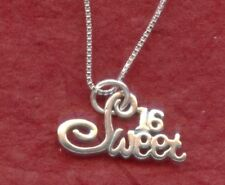 Sweet 16 Necklace Sterling Silver Solid 925 Pendant n Chain 16th Birthday gift
