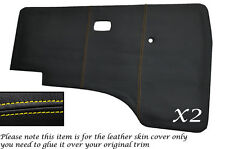 YELLOW  STITCH 2X DOOR CARDS LEATHER SKIN COVERS FITS VW T25 T3 WESTFALIA CAMPER