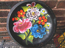 "Vintage-Hand Carved Wooden-Painted Toleware Folk Art decor 11"""