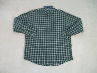Ralph Lauren Chaps Button Up Shirt Adult Large Green Brown Casual Mens 90s *
