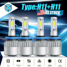 4Pcs LED Headlight Bulbs H11 + H11 Combo 4000W 600000LM High Low Beam Fog Lights