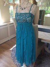 DEBUT DEBENHAMS TEAL TURQUOISE CRUISE EVENING COCKTAIL EMBELLISHED DRESS 10 38