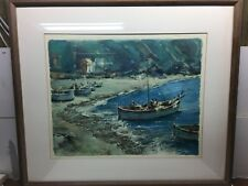 1955 Watercolor Art Painting MONTEROSSO LA SPEZIA COASTLINE ITALY by A Gheoluri