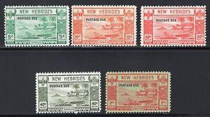1938 New Hebrides. SC#J6-J10. SG#. Mint, Lightly Hinged, FVF.