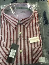 NEW Arnold Zimberg  Dress Shirt RED Striped Large  Great Christmas Gift