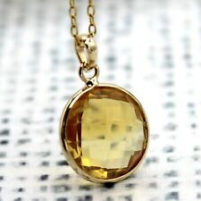 "Natural Citrine Pendant 18k Yellow Gold Pendant With Free 18"" Chain"