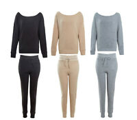 Ladies Crop Oversized Knitted Lounge Suit Women's Co ord Winter 2 Pc Set 8-14