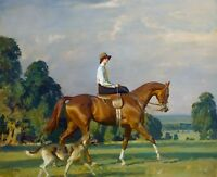 "Sir Alfred Munnings, Horse, Miss Ruth Brady, dog, antique decor, 14""x11"""