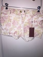 NEW WT Makers Women's Floral Pink/White Jean Shorts Size 29 Waist