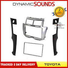 CT24TY22 Silver Double Din Fascia Trim Panel Surround For Toyota Yaris 2007-2011