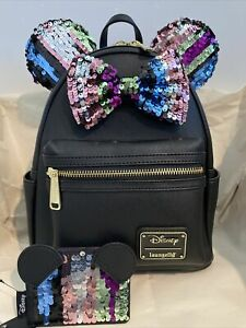 Loungefly Disney Minnie Mouse Black Sequin Mini Backpack and CardHolder Set NWT