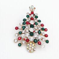 Betsey Johnson Crystal Rhinestone Christmas Tree Charm Women's Brooch Pin Gift