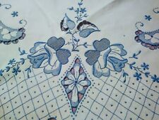 Amazing Fine Blue Rose  Embroidered & Cutwork White Madeira Linen Tablecloth 48""