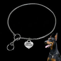 Heavy Duty Dog Choke Check Chain Collar Metal Chrome Choker with Pet Dog ID Tags