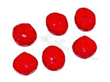lot de 6 BOUTONS originaux forme toupie ciselée plastique rouge 13mm button