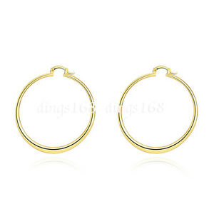 Ladies 18K Yellow Gold Filled 55mm Large FLAT Light Weight Round Hoop Earring a4