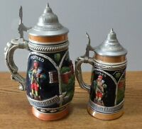 Authentic Vintage  German Lidded ceramic Beer Steins set of 2 great condition