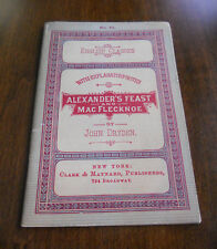 1883 Alexander's Feast and Mac Flecknoe John Dryden English Classics Booklet #39
