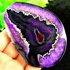 Purple Onyx Druzy Geode Agate Freeform Slice Pendant Bead 83x58x5mm H74Y0885
