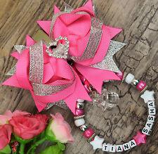 personnalisé Impressionnant Landau breloque en rose et blanc argenté bébé filles