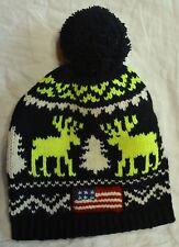 Polo Ralph Lauren Beanie Wool Ski Cap American Flag Patch Hat Black NWT $99