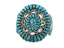 Circa 1950s, Zuni, Silver with Lone Mountain Turquoise Cluster