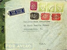 PORTUGAL 1944 7v SHIP, NEWSPAPER ON AIRMAIL CENSORED COVER FROM LISBON TO USA