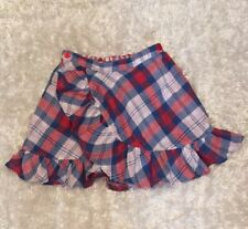 "Fore N Birdie ""Play Golf be Good"" Reversible Ruffle Skirt red blue plaid Sz 8"