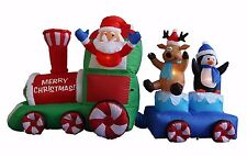 7 Foot Christmas Inflatable Santa Claus Penguin & Reindeer Train Yard Decoration