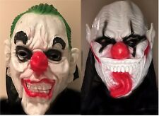 2X MASKS CLOWN CREEPY CARNIVAL HALLOWEEN CLOWN MASK 2 DESIGN HORROR HOODED MASK