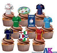 Six Nations 6 Nations Fun Rugby Party Pack 36 Edible Cup Cake Wafer Toppers
