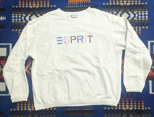 VTG 90s Esprit Sport Rainbow Embroidered Spellout White Sweatshirt M