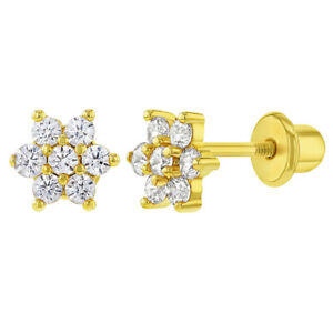 Gold Plated Clear CZ Flower Screw Back Earrings for Babies & Toddlers